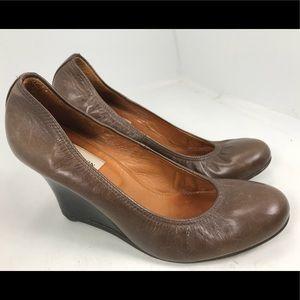 Lanvin Brown Leather Wedge Heels Closed Toe 37